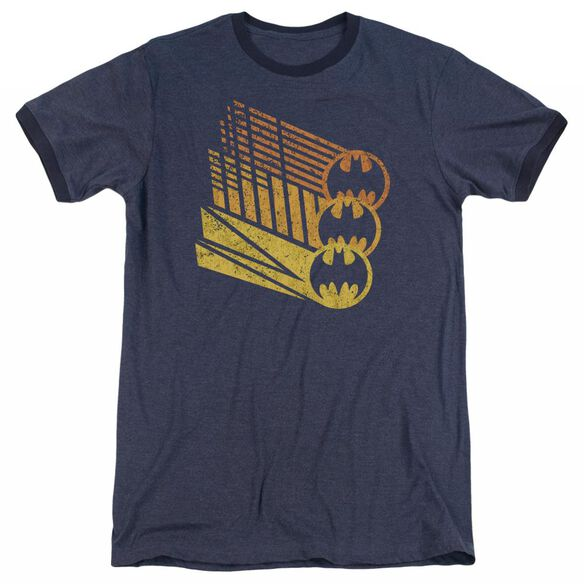 Batman Bat Signal Shapes - Adult Heather Ringer - Navy