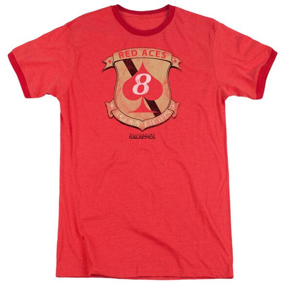 Bsg Red Aces Badge Adult Ringer Red