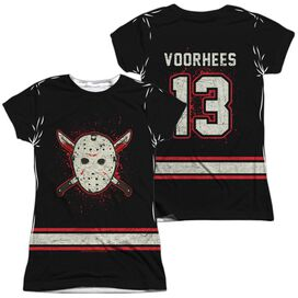 Friday The 13 Th Voorhees Jersey (Front Back Print) Short Sleeve Junior Poly Crew T-Shirt