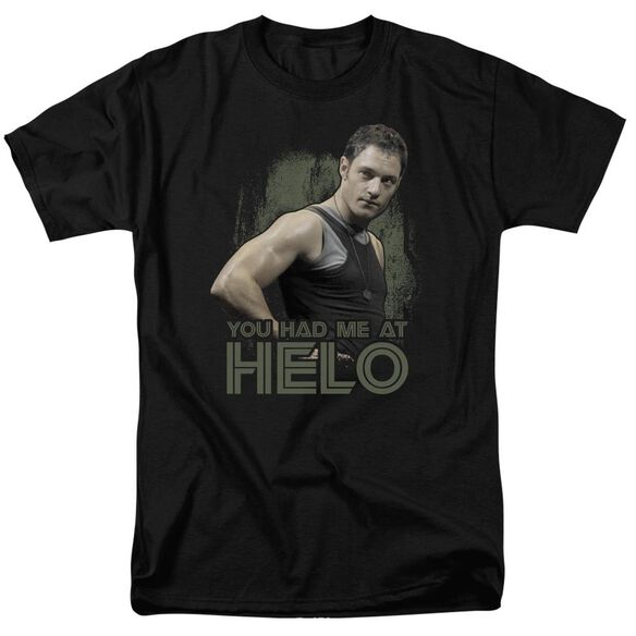 BSG HAD ME AT HELO - S/S ADULT 18/1 - BLACK T-Shirt