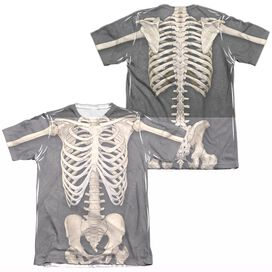 SKELETON COSTUME (FRONT BACK PRINT)-ADULT POLY/COTTON T-Shirt
