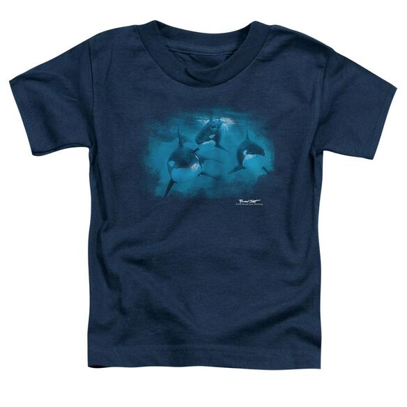 Wildlife Pod Of Orcas Short Sleeve Toddler Tee Navy T-Shirt