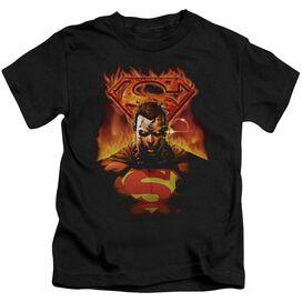Superman Man On Fire Short Sleeve Juvenile Black T-Shirt