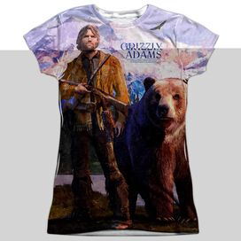 Grizzly Adams Man And Bear Short Sleeve Junior Poly Crew T-Shirt