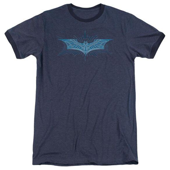 Dark Knight Bat Armor Logo Adult Heather Ringer Navy