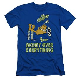 Garfield Money Is Everything Short Sleeve Adult Royal T-Shirt