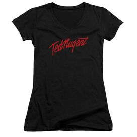 Ted Nugent Distress Logo Junior V Neck T-Shirt