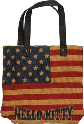 Hello Kitty Burlap Flag Tote Bag