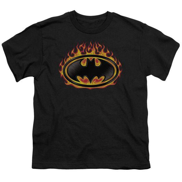 Batman Bat Flames Shield Short Sleeve Youth T-Shirt