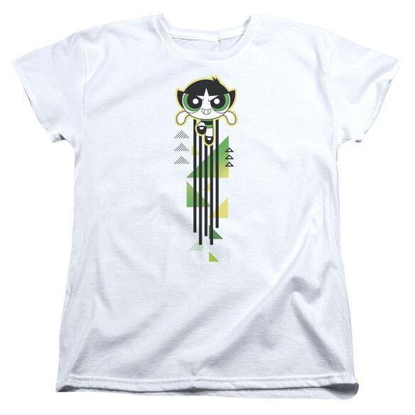 Powerpuff Girls Buttercup Streak Short Sleeve Womens Tee White T-Shirt