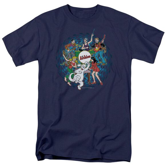 Archie Comics Psychadelic Archies Short Sleeve Adult Navy T-Shirt