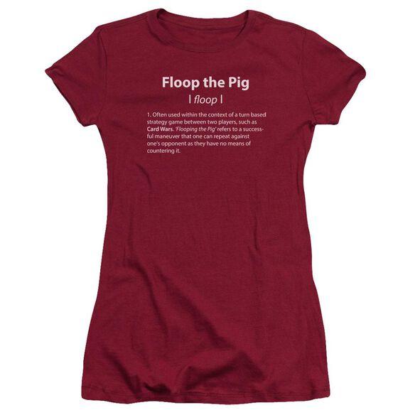 Adventure Time Floop The Pig Short Sleeve Junior Sheer T-Shirt