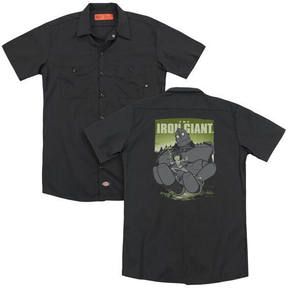 Iron Giant Helping Hand (Back Print) Adult Work Shirt