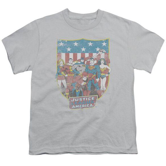 Dc Jla American Shield Short Sleeve Youth T-Shirt