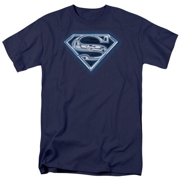 Superman Cyber Shield Short Sleeve Adult Navy T-Shirt