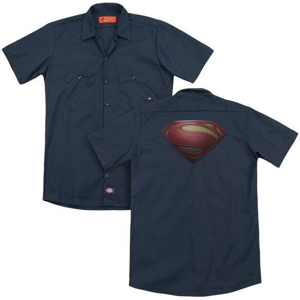 Man Of Steel Mos Shield (Back Print) Adult Work Shirt