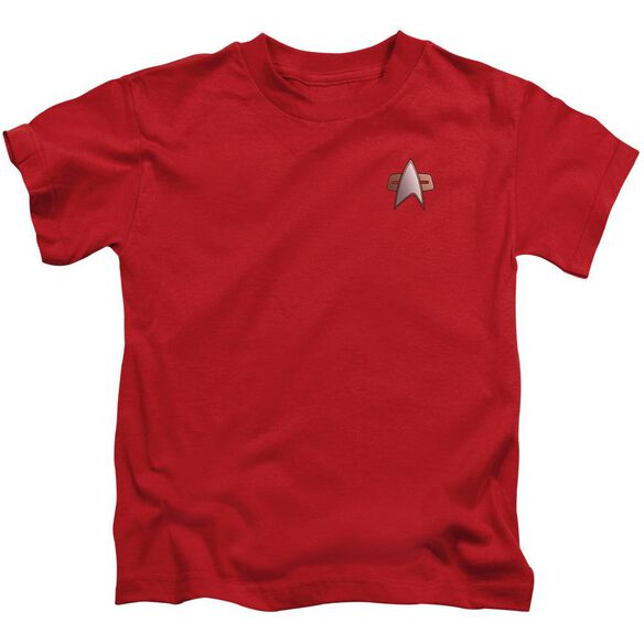 Star Trek Ds9 Command Emblem Short Sleeve Juvenile Red T-Shirt