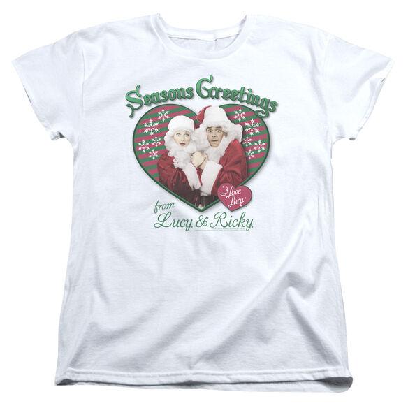 I LOVE LUCY SEASONS GREETINGS - S/S WOMENS TEE - WHITE T-Shirt