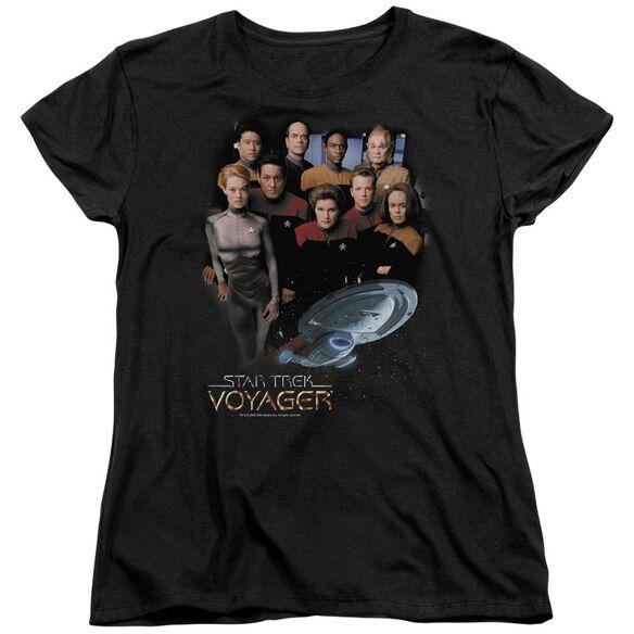 STAR TREK VOYAGER CREW - S/S WOMENS TEE - BLACK T-Shirt