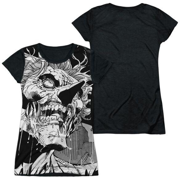 Batman Joker Short Sleeve Junior Poly Black Back T-Shirt