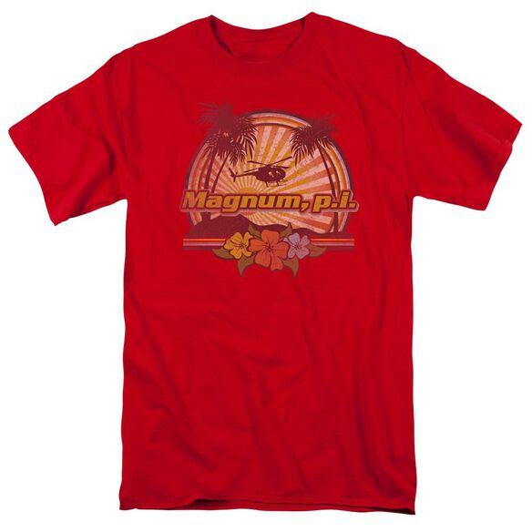 Magnum Pi Hawaiian Sunset Short Sleeve Adult Red T-Shirt