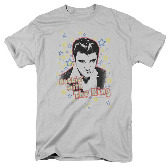 Elvis Rockin With The King Short Sleeve Adult Silver T-Shirt