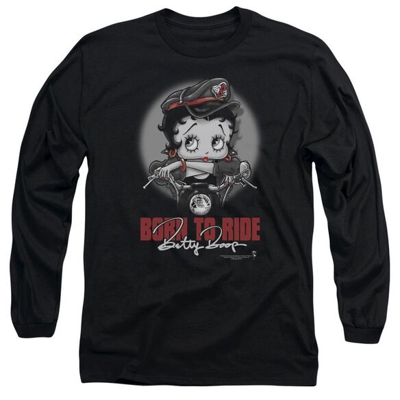 Betty Boop Born To Ride Long Sleeve Adult T-Shirt