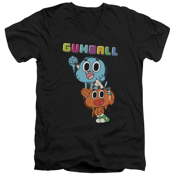 Amazing World Of Gumball Gumball Spray Short Sleeve Adult V Neck T-Shirt