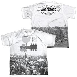 Woodstock Crowd (Front Back Print) Short Sleeve Youth Poly Crew T-Shirt