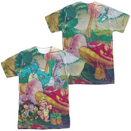 Dragon Tales Mushroom Meadow (Front Back Print) Short Sleeve Adult Poly Crew T-Shirt