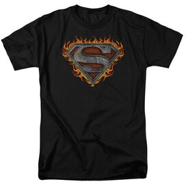 Superman Iron Fire Shield Short Sleeve Adult Black T-Shirt
