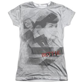 Bettie Page Black Bars Short Sleeve Junior 100% Poly Crew T-Shirt