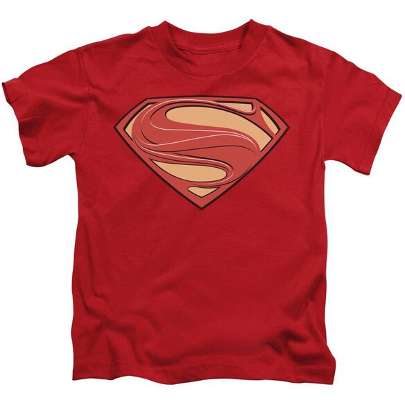 Man Of Steel New Solid Shield Short Sleeve Juvenile Red T-Shirt