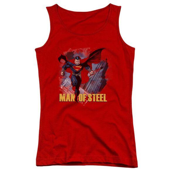Man Of Steel Fly By Juniors Tank Top