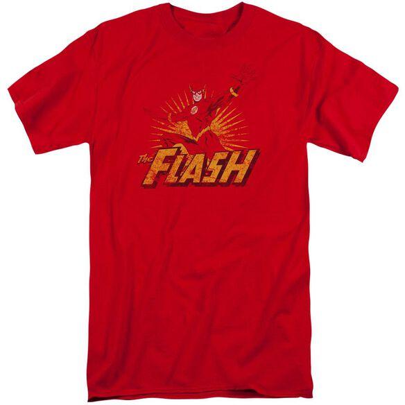 Jla Flash Rough Distress Short Sleeve Adult Tall T-Shirt