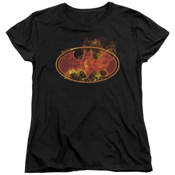 BATMAN FLAMES LOGO - S/S WOMENS TEE - BLACK T-Shirt