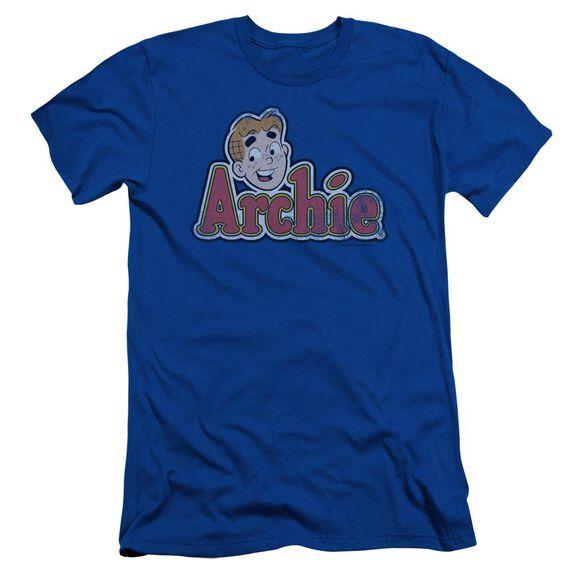 Archie Comics Distressed Archie Logo Short Sleeve Adult Royal T-Shirt