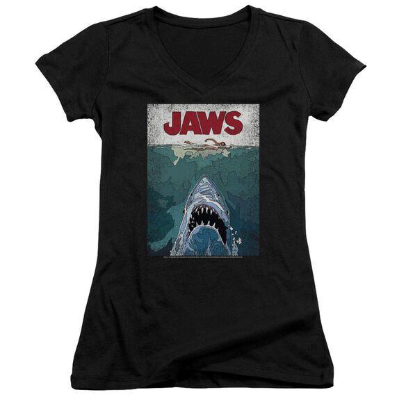 Jaws Lined Poster Junior V Neck T-Shirt
