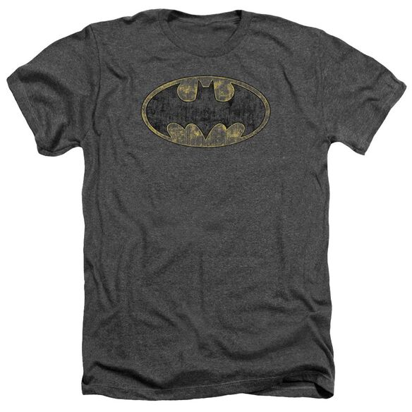 Batman Tattered Logo - Adult Heather - Charcoal