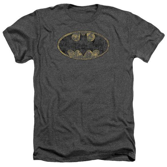 Batman Tattered Logo Adult Heather