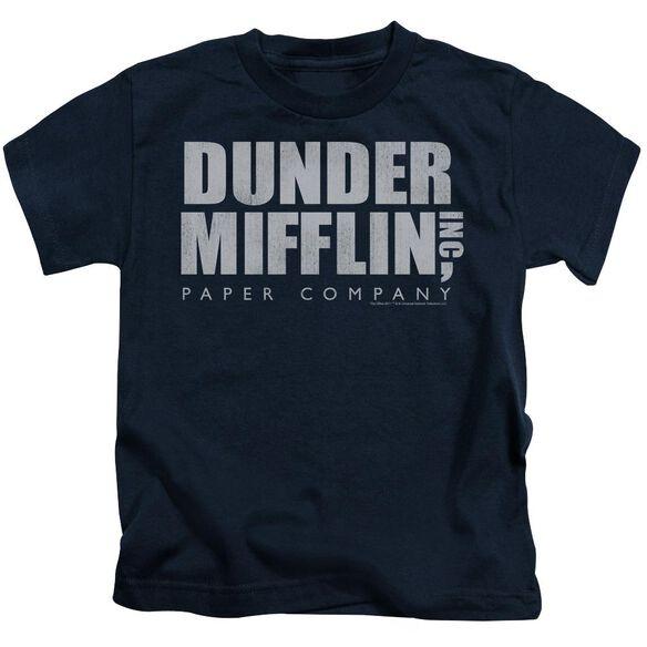 The Office Dunder Mifflin Distressed Short Sleeve Juvenile Navy Md T-Shirt