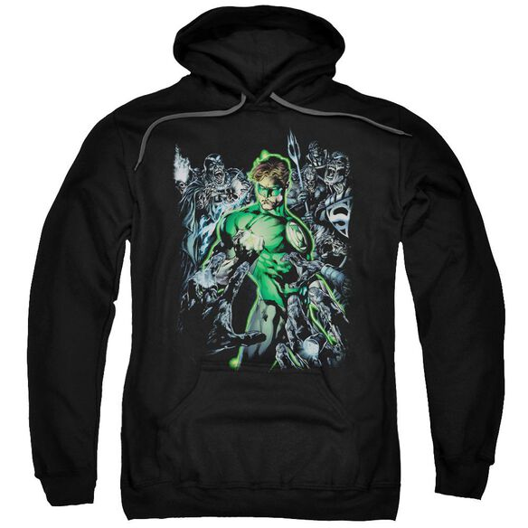 Green Lantern Surrounded By Death Adult Pull Over Hoodie Black