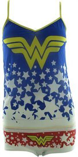 Wonder Woman Stars Mesh Cami Panty Pajama Set