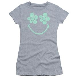 Smiley World Flower Face Short Sleeve Junior Sheer Athletic T-Shirt
