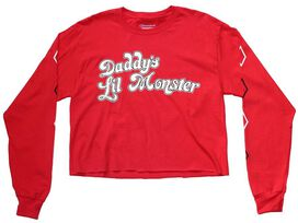 Harley Quinn Daddy's Lil Monster Crop Top LS Juniors Champion T-Shirt