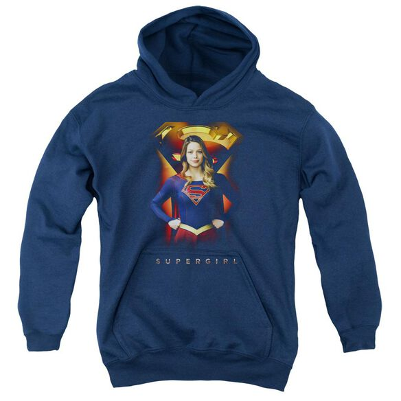 Supergirl Standing Symbol Youth Pull Over Hoodie