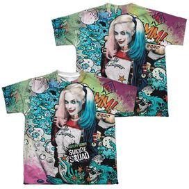 Suicide Squad Harley Psychedelic Cartoon (Front Back Print) Short Sleeve Youth Poly Crew T-Shirt