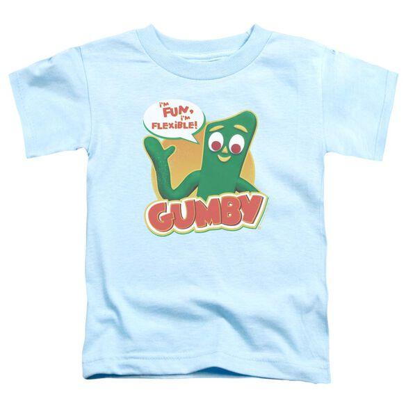 Gumby Fun & Flexible Short Sleeve Toddler Tee Light Blue T-Shirt