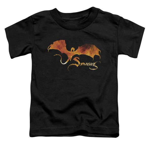 Hobbit Smaug On Fire Short Sleeve Toddler Tee Black T-Shirt