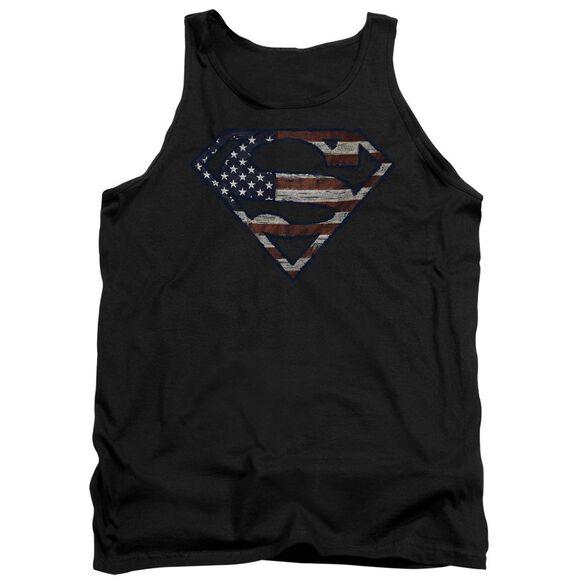 Superman Wartorn Flag Adult Tank